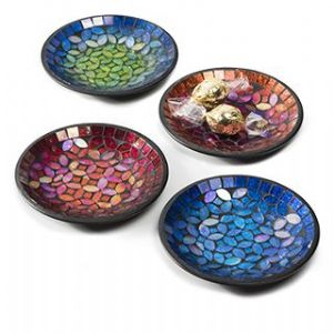 Bowl~ Small Assorted Colour Mosaic Candle Dish/Small Decorative Bowl~ By Folio Gothic Hippy BW17